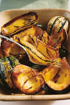 Recipe for Honey-Roasted Squash, as seen in the November 2005 issue of 'O, The Oprah Magazine. Vegetarian Thanksgiving, Thanksgiving Recipes, Holiday Recipes, Dinner Recipes, Christmas Recipes, Dinner Ideas, Vegetarian Recipes, Cooking Recipes, Healthy Recipes
