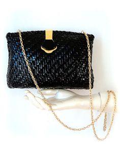 Sac / Pochette Tressé Bleu Marine - Carlita Vintage Shop - Boutique en ligne de Mode Vintage, Vêtements ,Accessoires et Brocantes