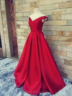 Off-the-shoulder Red Satin Sweep Train Sashes / Ribbons Gorgeous Prom Dress #UKM020101855