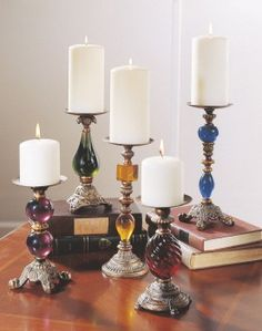 Assorted pillar candle holders