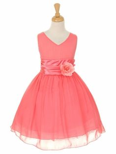 Coral Yoryu Chiffon Double V-Neck Dress.  Comes in several colors.