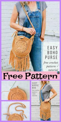 63 Ideas For Crochet Afghan Boho Free Pattern Crochet Gratis, Crochet Wool, Free Crochet, Easy Crochet, Crochet Handbags, Crochet Purses, Crochet Bags, Diy Bags Purses, Purses Boho