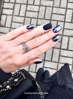 Manicure with Rubbing Trendy Nail Design with Rubbing, Trends on the Photo Dark Nails, Red Nails, Glitter Nails, Dark Color Nails, Blue Matte Nails, Glitter Art, Metallic Nails, Gorgeous Nails, Pretty Nails