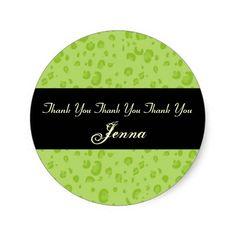 Bridal Shower Lime Green Leopard Confetti V01 Round Stickers