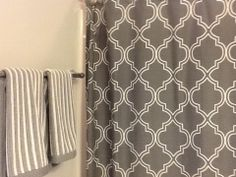 Bathroom Shower Curtain Gray Stripes Decor Designer Unknown