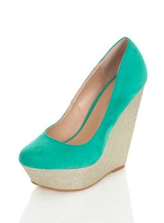 Mint Green Glitter Wedge $80 ...I would love this if it wasn't mint green.