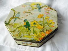 VINTAGE Budgie Bird  Tin  English Biscuit Tin Asian bird and flower Design Peek, Frean & Co.  London England By Appointment to H by StudioVintage on Etsy