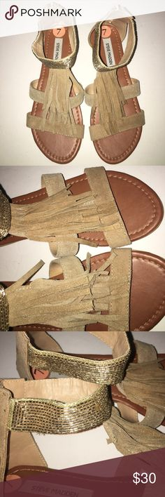 Steve Madden Audree taupe tan fringe sandals Used but good condition. Minor scuffs see photos. Steve Madden Shoes Sandals