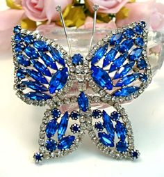 Vintage Jewelry Large Juliana Style Royal Blue Butterfly Brooch Pin 3""
