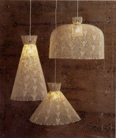 crochet pendant lamps via Roost