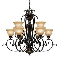 Golden Lighting 6029-9 Jefferson 9 Light Chandelier Etruscan Bronze Indoor Lighting Chandeliers