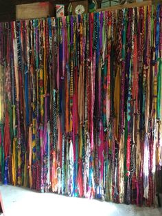 Items similar to Boho Backdrop Hippie Curtains Boho Curtain Junk Gypsy Decor Rustic Rag Fabric Ribbon Garland Teen Room-Dorm-Glamping-Bed-Headboard Nursery on Etsy
