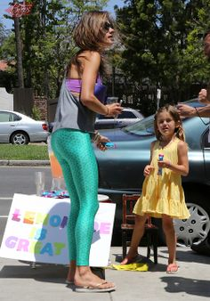 Alessandra Ambrosio selling Lemonade with Anja in Brentwood, CA - June 1, 2014