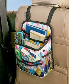 Store important items on the go with this Backseat Car Organizer. It has an adjustable strap that you can hang on the headrest of any front seat, providing stor #carorganizationtips