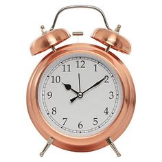 George Home Copper Finish Double Bell Alarm Clock | Home & Garden | George at ASDA - £8.00