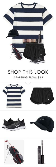 """""""Somebody teach me how to play golf."""" by xx-emilygh ❤ liked on Polyvore featuring Uniqlo, NIKE, Nike Golf and Bare Escentuals #BasicsofGolf"""