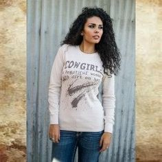 Cowgirl...A Beautiful Woman With Dirt On Her Thermal Long Sleeve Tee