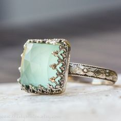 Aqua Chalcedony Cocktail Ring in Sterling Silver by ThirtySixTen, $114.00