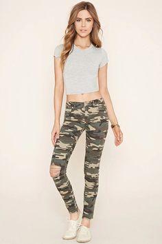 Camo Print Skinny Jeans #f21denim
