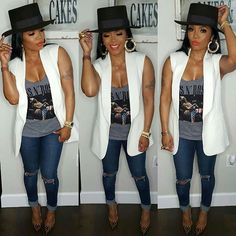 Casual Rasheeda, but does the average woman wear heels everyday? Outfits With Hats, Chic Outfits, Summer Outfits, Fashion Outfits, Womens Fashion, Fashion Pants, Black Girl Fashion, Cute Fashion, Fashion Looks