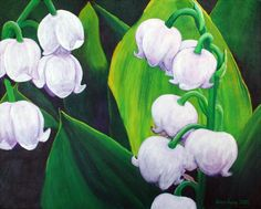 """Lilies of the Valley"" by Karen Aune, acrylic on canvas."