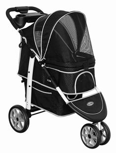 Monaco Pet Buggy and Stroller by InnoPet - Black Free standard UK shipping. It combines luxury, style and convenience into one fantastic pet stroller. Includes FREE raincover.