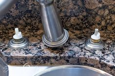 Do you hate those hard water stains on your granite as much as we do? Our simple process safely removes them without any harsh chemicals. #simply2moms #granite #hardwaterstains #cleaningtips #hardwater #mineraldeposits #granite How To Clean Granite, Affordable Storage, Hard Water Stains, Granite Countertops, Cleaning Hacks, Hate, Simple, Organization, Granite Worktops