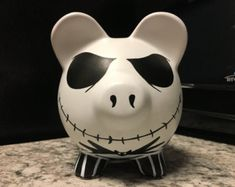 Jack Skellington Nightmare Before Christmas Hand Painted Ceramic Piggy Bank Medium Pottery Painting, Ceramic Painting, Jack Skellington, Straw Activities, Large Piggy Bank, Travel Crafts, Diy Fan, Hand Painted Ceramics, Nightmare Before Christmas