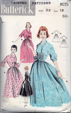 Butterick 8078 1950s  Softly Pleated DRESS  Pattern womens vintage sewing pattern by mbchills