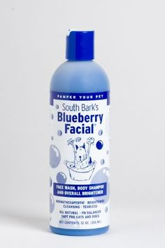 """Ruff ruff!  Kasey, Maverick, and Roscoe want South Bark's Blueberry Facial for Christmas!  The Blueberry Facial cleans and brightens your pet's face. South Bark's """"3 in 1"""" Blueberry Facial can be used as a tearless face wash, a full body shampoo, and a color brightener. It's relaxing and cleansing. Use it straight out of the bottle for tough stains or dilute 8:1. A little goes a long way."""