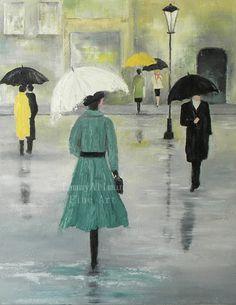 Oil Painting Fine Art Love in the Rain Urban Art by KenziesCottage, $265.00