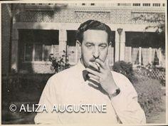 Vintage Black and White Photo Man Smoking  0019 by delphiniumsblue, $5.00