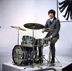 Ringo Starr Performing Onstage On The Set Of A Hard Days Night At Scala Theatre Playing Ludwig Drum Kit Drums March 1964