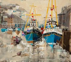 'Fishing Boats, Mevagissey' by Mike Bernard Boat Painting, Painting & Drawing, Boat Drawing Simple, Mike Bernard, Michael Bernard, Ocean Fishing Boats, Boat Illustration, Drawn Fish, St Just