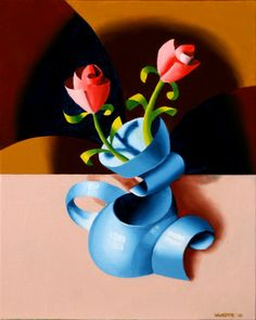 """Abstract Futurist Roses in Vase. 10x8"""" Oil on Canvas Panel. http://markadamwebster.com/workszoom/448982"""
