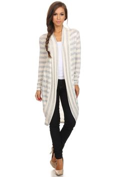 All Is Fair Gray and Ivory Striped Cardigan – URBAN MAX LLC