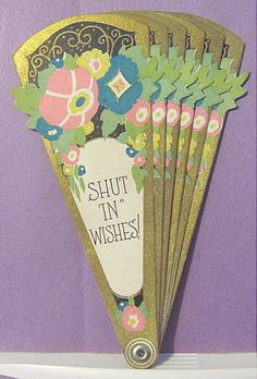 Vintage Folding HAND FAN Made as Get Well Paper GREETING CARD