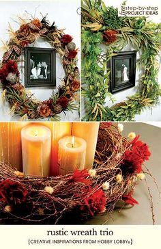 Beauty meets decorative function with this artsy collage of handcrafted wreaths. Highlight favorite family photos or play up a grouping of cozy candles for when the table is not set for meal times.