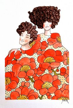 All rights reserved Watercolor Illustration, Watercolor Art, Painting People, Human Painting, Bird Coloring Pages, Orange Art, Illusion Art, Gustav Klimt, Pottery Painting