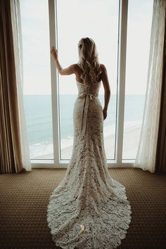Classic Lace Fit and Flare Anna Maier Wedding Dress.    Photo by Vanessa Boy Photography.