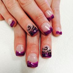 Purple glitter with black design by Janee