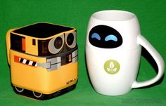 WALL-E & EVE ROBOT COFFEE CUP CERAMIC MUG SET DISNEY STORE EXCLUSIVE PIXAR MOVIE