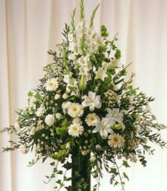 White and green arrangement for church