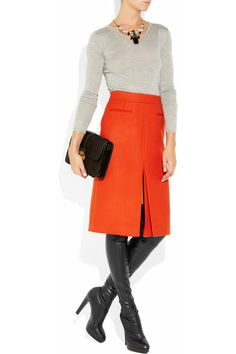 burnt orange #skirt #black #boots    Re-Pinned by http://high5collegeclub.com