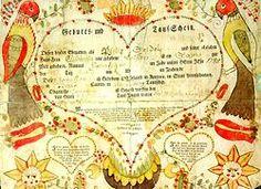 A 1788 example of a baptismal certificate Fraktur, a precursor to the Hex Sign.