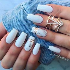 Related posts: 24 Beautiful Coffin Nail Designs Ideas 65 Popular Gel Glitter Coffin Nail Designs 43 Beautiful Nail Art Designs for Coffin Nails 35 Cool Acrylic Coffin Nail Designs You Need to Copy Immediately White Coffin Nails, White Acrylic Nails, Summer Acrylic Nails, Best Acrylic Nails, White Summer Nails, Matte White Nails, Fake Nails White, Black Marble Nails, Matte Nail Art