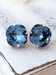 Navy blue deep blue crystal stud earrings by EldorTinaJewelry | http://etsy.me/1ILa3RR