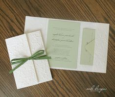 Create beautiful rustic wedding invitations with ease using these eco-friendly DIY mulberry pocketfold invitation kits. These sets come with light green (sage) cardstock, matching recycled envelopes and raffia. These unique pocketfolders are perfect for a spring, summer or outdoor wedding.