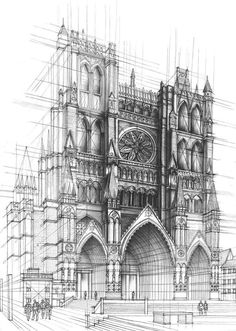 Detailed perspective of cathedral with people to display size using wireframe to aid in drawing