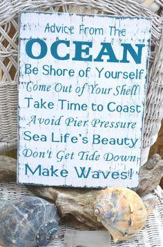 Unique Beach Decor, Poem by Ilan Shamir, Coastal Wood Sign, Ocean, Nautical Hand Painted Reclaimed Wood, Driftwood from Signs Of Love - Carova Beach. #nautical #ocean #wantnow #cute #love #quotes #puns #lie.